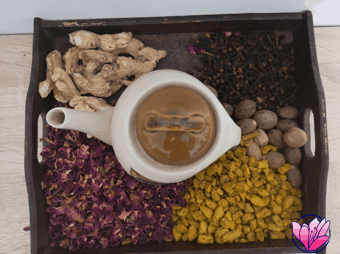 Bandeja expositora del tasting de tés
